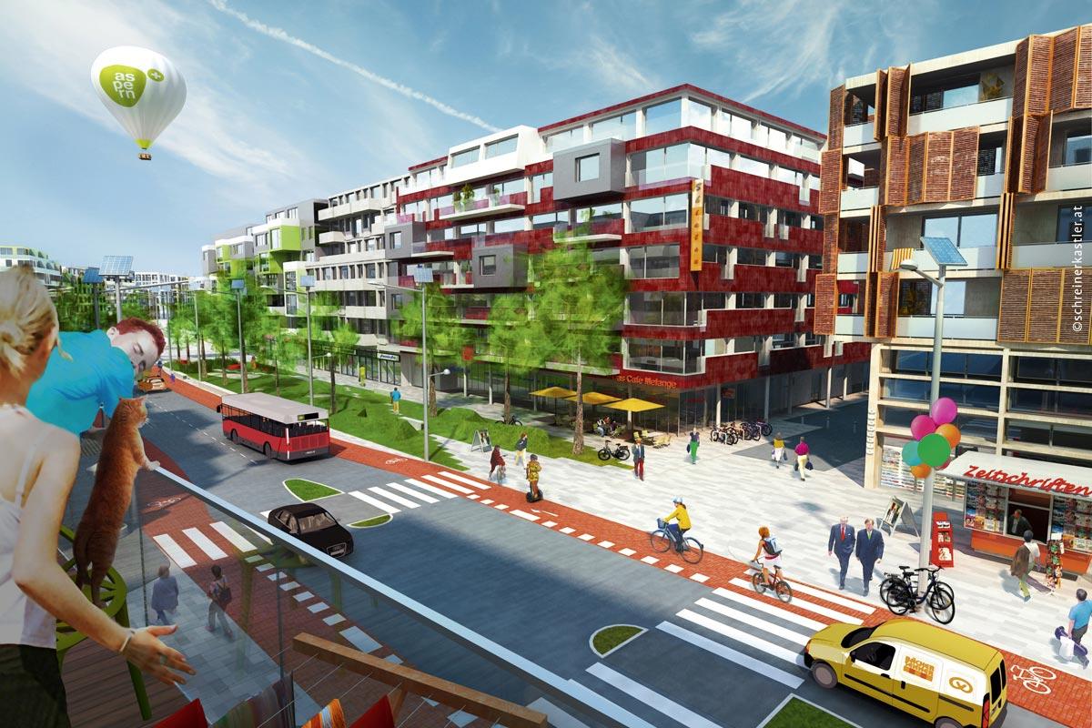 aspern-die seestadt, Boulevard, Quelle: schreinerkastler.at / Wien 3420