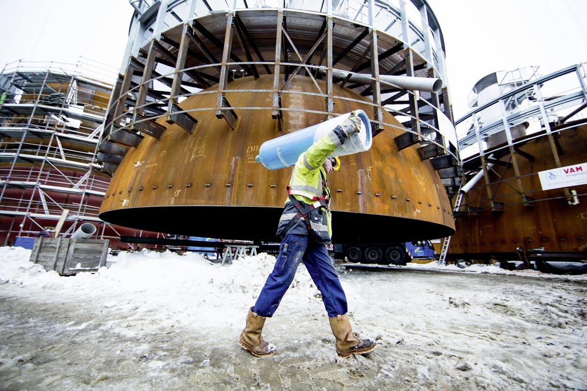 Bau des Hochdruck-Wärmespeichers, Quelle: Wien Energie/Ian Ehm