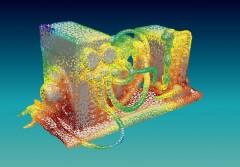 Resultat einer Beamforming-Analyse dargestellt auf der Oberfläche einer Testwärmepumpe. Die Farbe zeigt die Intensität der Schallquelle bei ungefähr 1 kHz, Foto: AIT