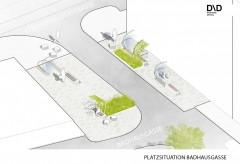 """Lichtreflektierendes Pflaster, Begrünungen und Nebelduschen, Projekt """"Kühle Meile"""", Zieglergasse, 1070 Wien; Copyright: D/D Landschaftsplanung, www.dnd.at"""