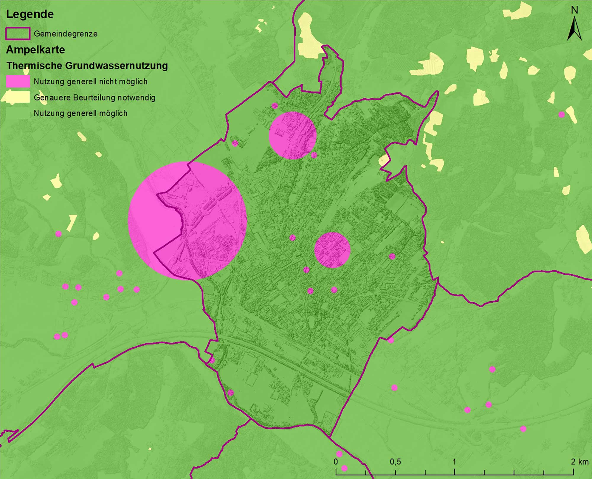 The traffic-light map groups together possible reasons preventing a near-surface geothermal energy system from being set up and indicates locations where they can gener-ally be used (green), where additional information is needed (yellow) or where geothermal heat cannot be used as a general principle (pink). The maps include, for example, karstable rocks, possible landslides or mining areas. Picture: Geological Survey of Austria (GBA)